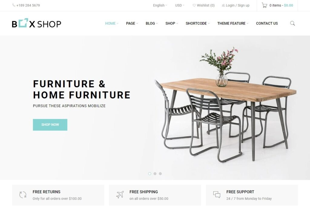 BoxShop Parallax WordPress eCommerce Theme