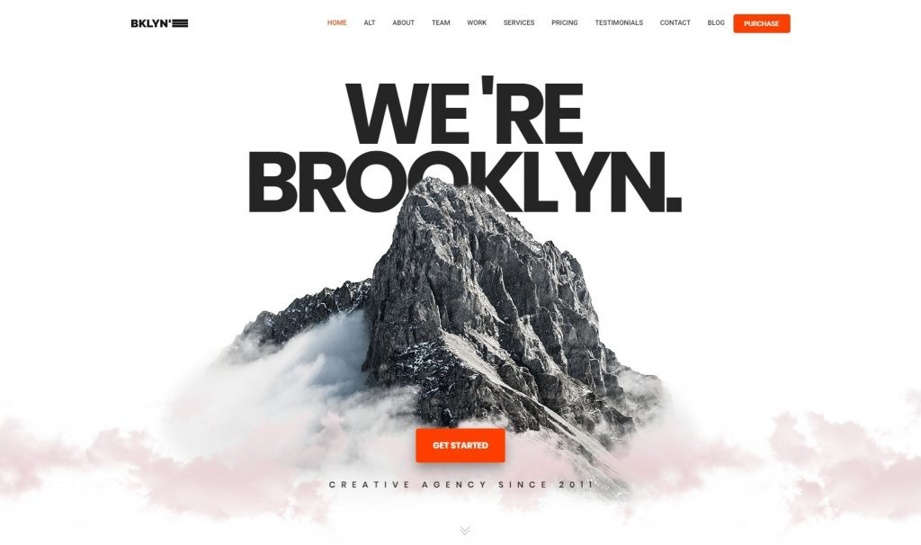 Brooklyn One Page DIgital Agency WordPress Theme