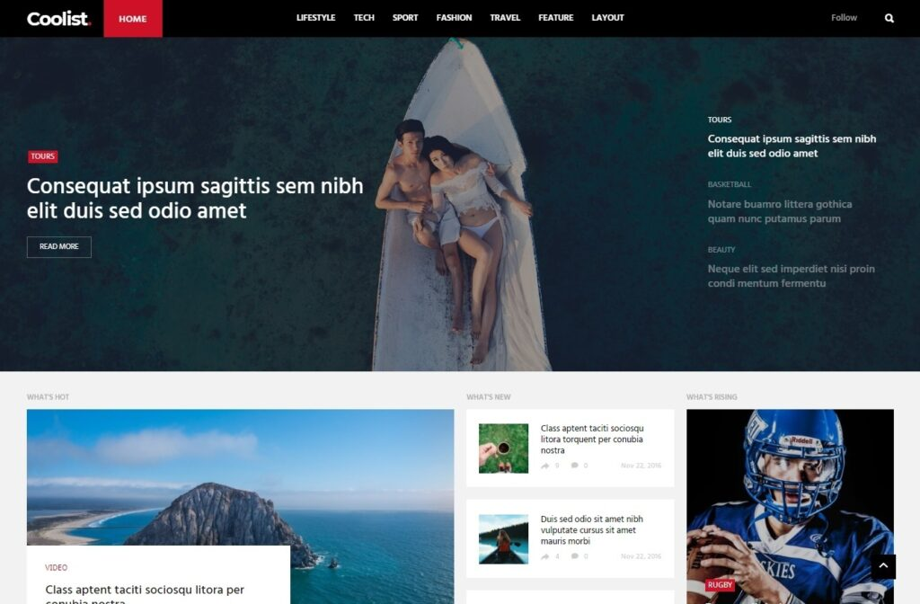 Coolist Multi Author Blog and Magazine Theme for WordPress
