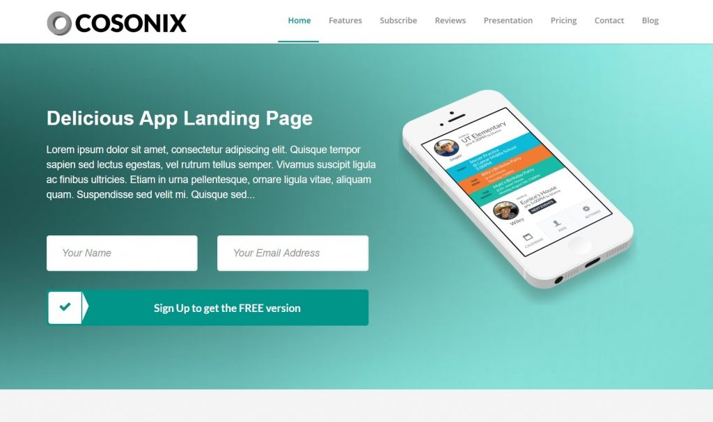 Cosonix App One Page Application Promo Theme