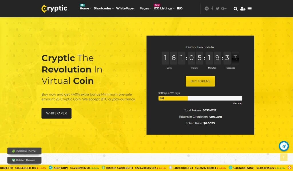 Cryptic, Cryptocurrency WordPress Themes