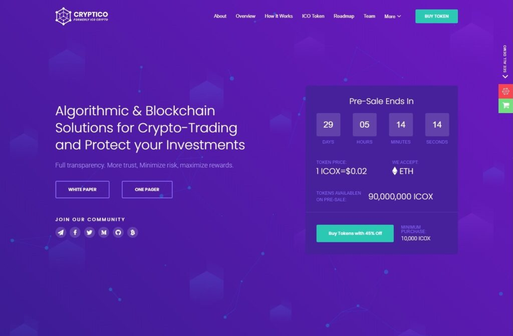 Cryptico, WordPress Theme for Cruptocurrencies and Exchanges