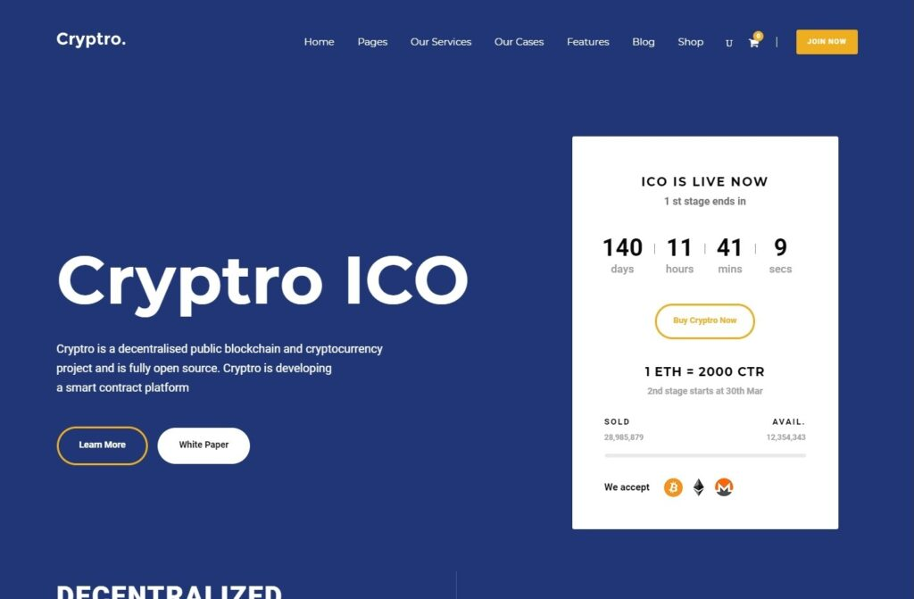 Cryptro Blockchain, Cryptocurrency and Financial Theme