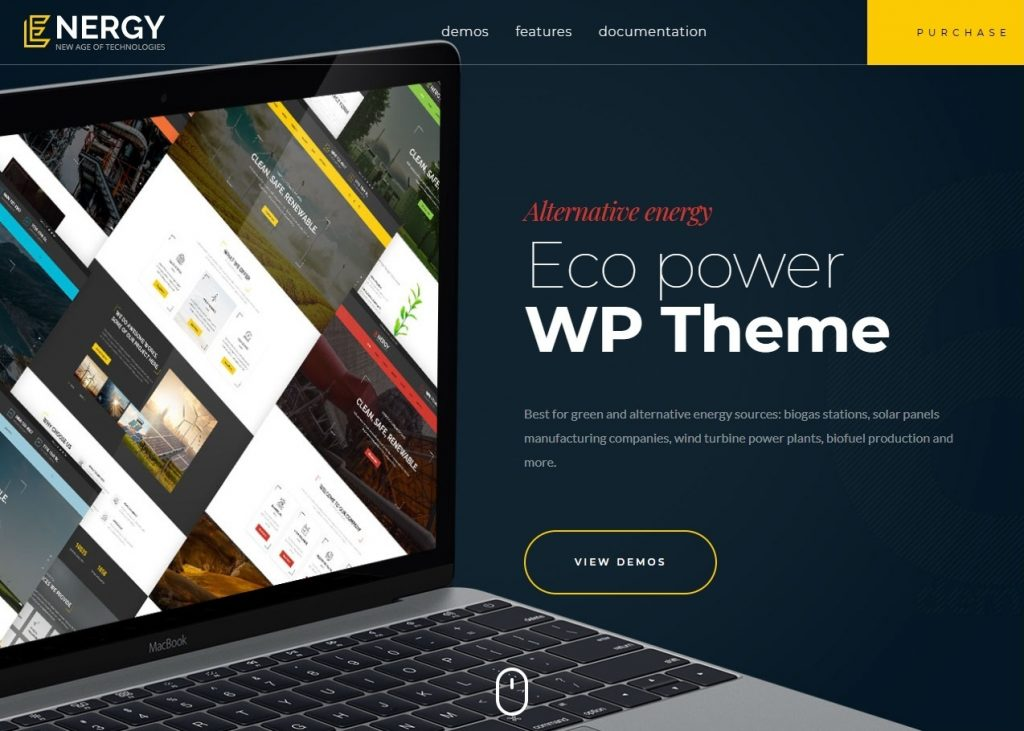 Energy Solar Wind and Alternative Power WordPress Theme