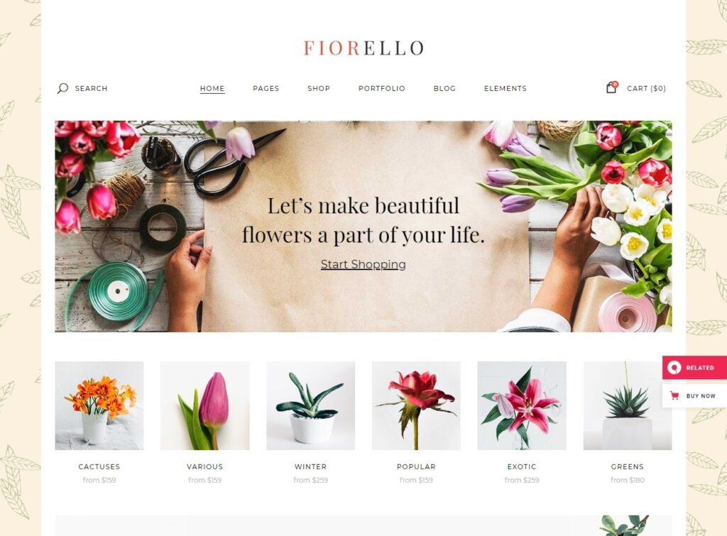 Fiorello Florist and Flower Shop Theme