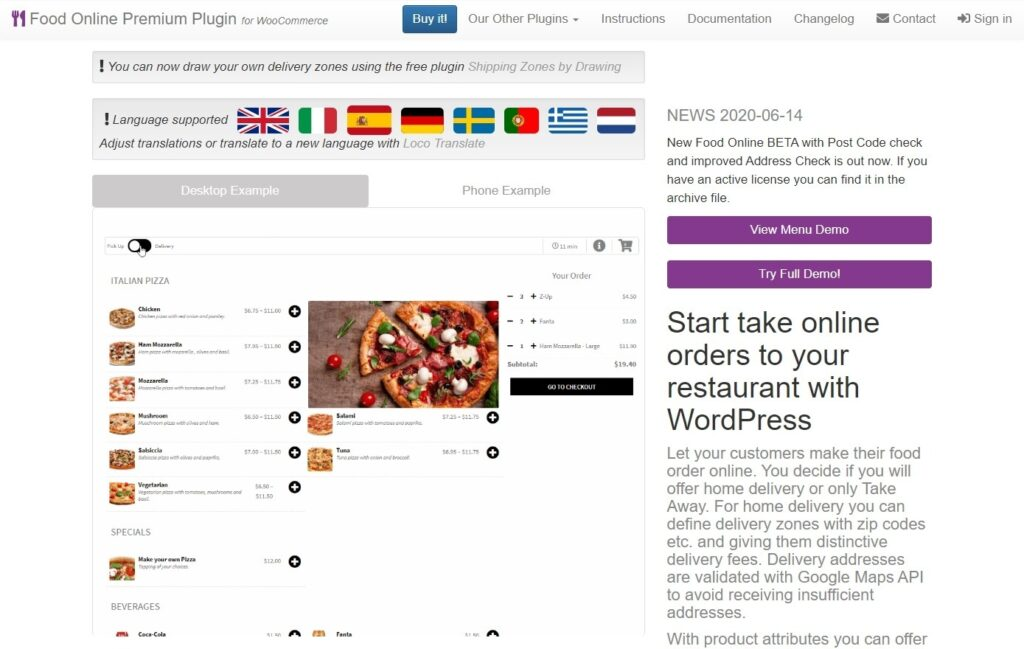Food Online Premium WordPress Food Ordering Theme