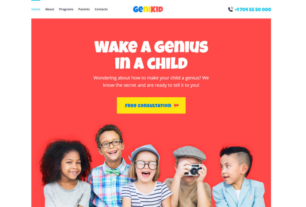 GeniKid WordPress Theme for Early Childhood Education