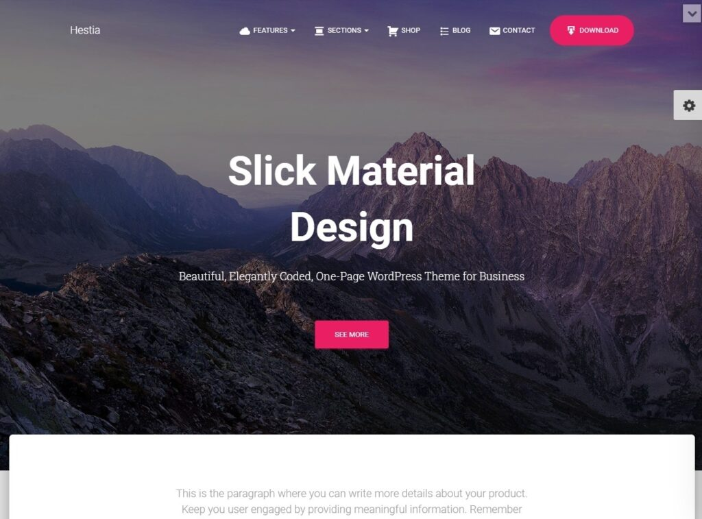 Hestia Pro Slick Material Design Theme with Elementor WooCommerce