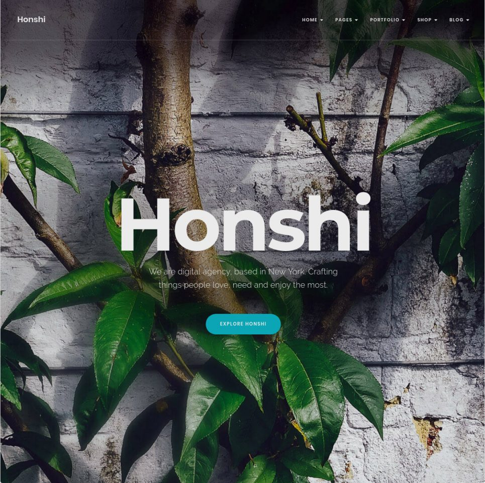 Honshi Minimal Clean One Page WordPress Theme