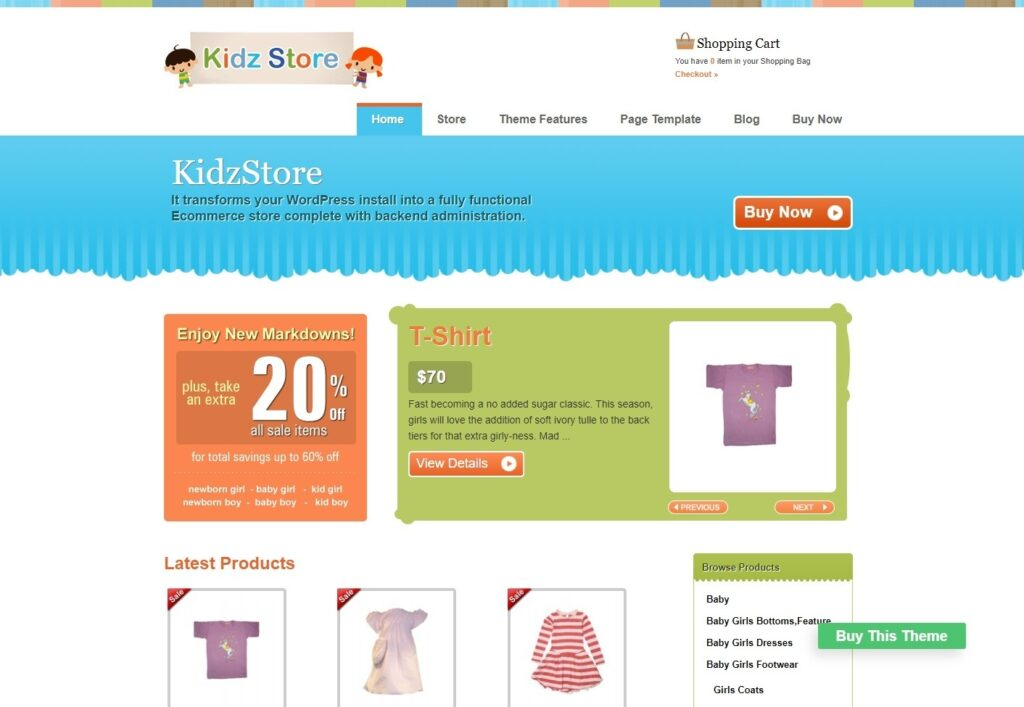 Kidz Store eCommerce WordPress Theme for Kids Products