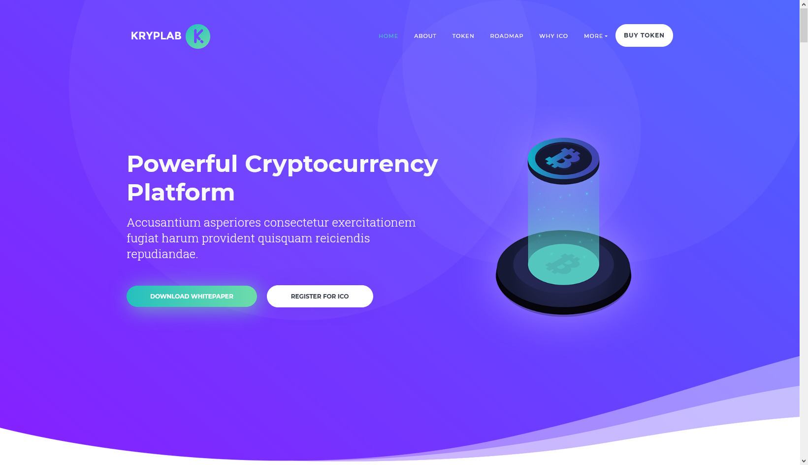 Kryplab, Bitcoin & Cryptocurrency Landing Page