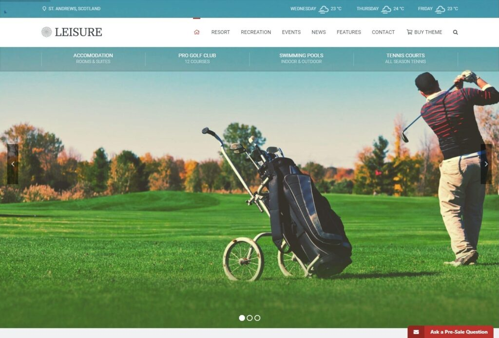 Leisure Hotel Theme for Golf Resorts