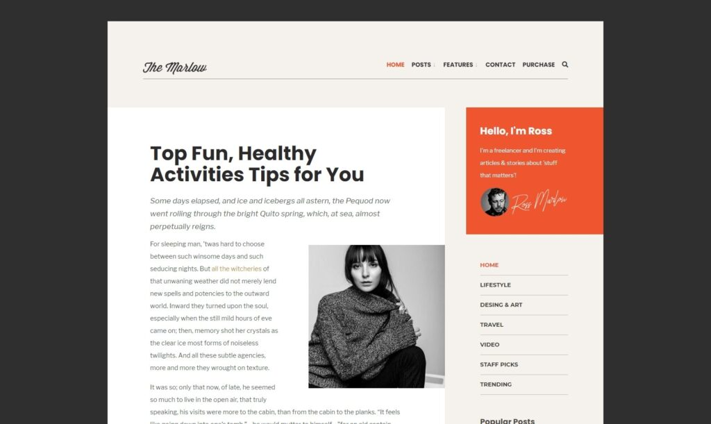Marlow Unique Theme with Strong Typography