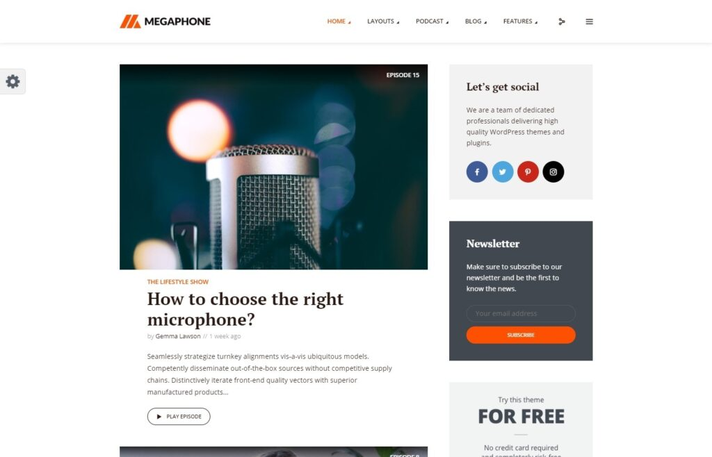 Megaphone Modern Podcasting WordPress Theme