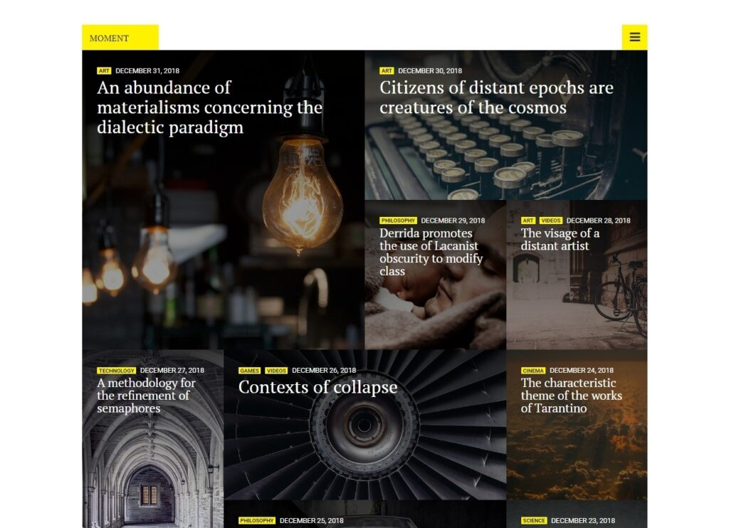 Moment Unique Magazine Theme with Modern Typography Style