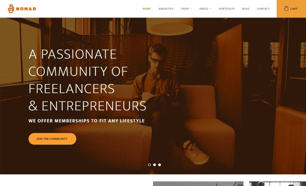 Nomad Theme for Coworking Space Businesses