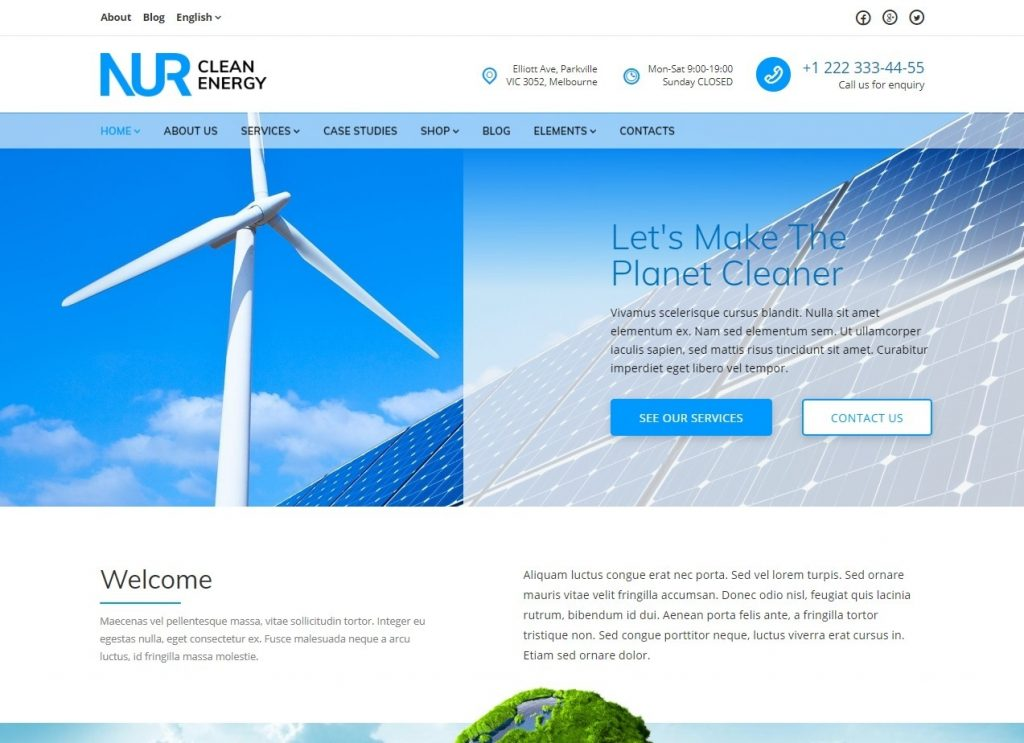 Nur Clean Energy WordPress Theme