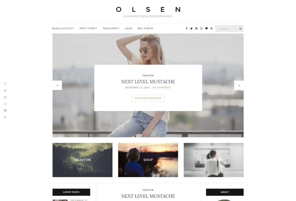 Olsen Clean Personal Blog Theme with White Space
