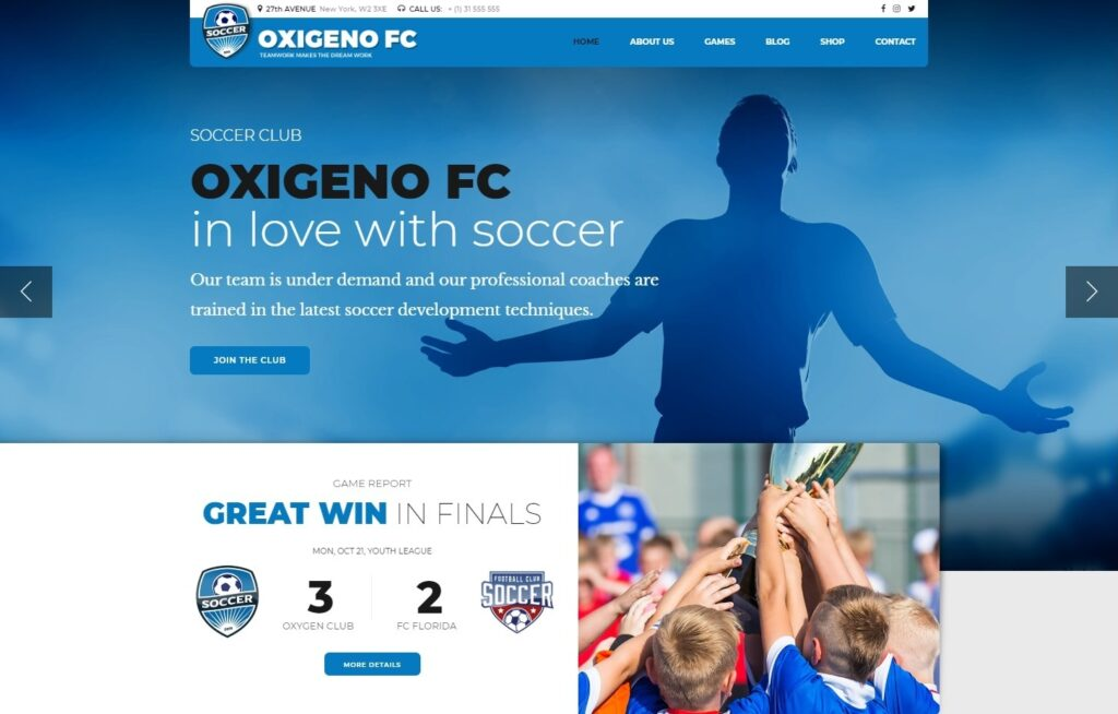 Oxigieno, Soccer and Sports WordPress Theme