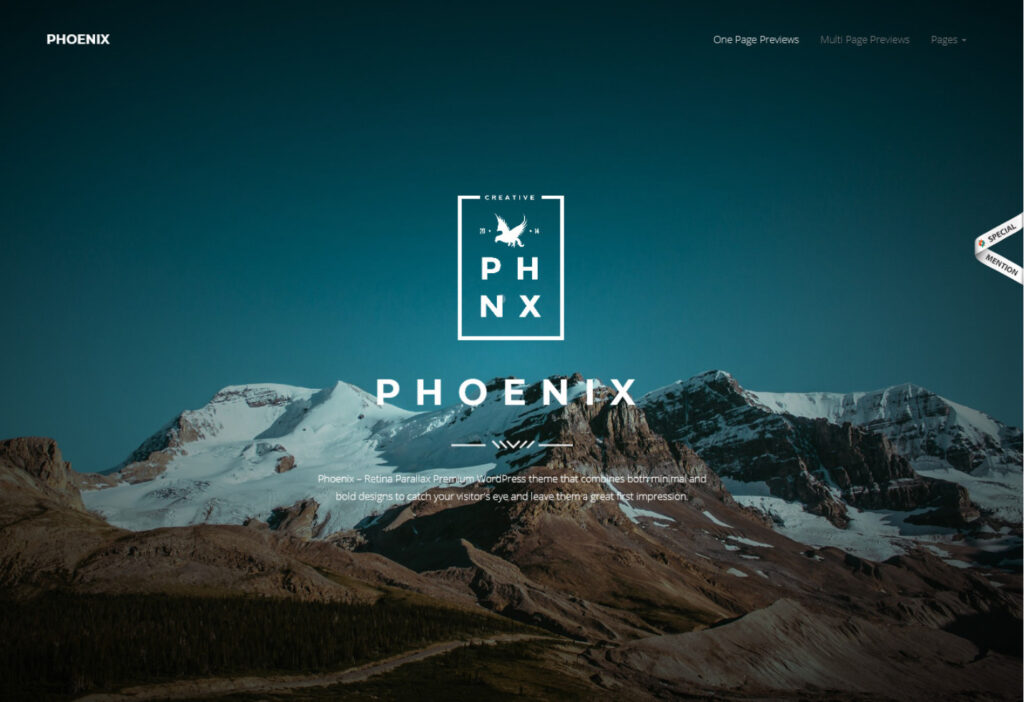 Phoenix One Page Coming Soon WordPress Theme