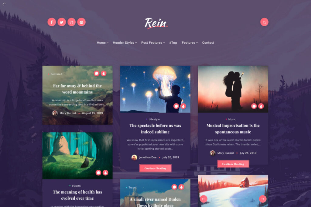 Rein Minimal Lightweight Dark Theme for WordPress