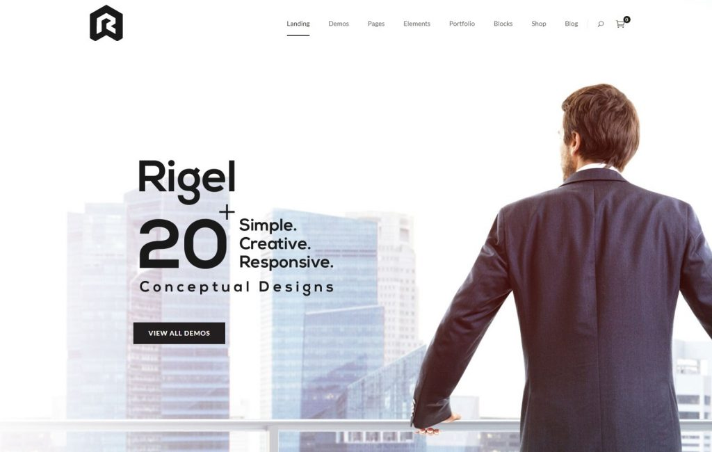 Rigel One Page Theme with Demo Designs