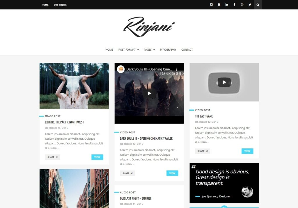 Rinjani a Responsive Personal Blog Theme with Grid Layout