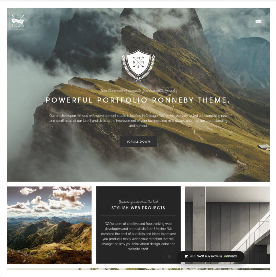 Ronneby Parallax WordPress Theme with Awesome Typography e