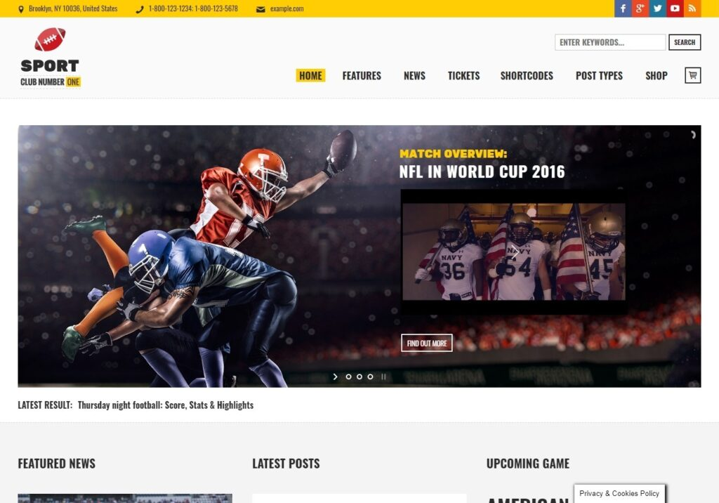 Sports Club WordPress Sporting Magazine Theme