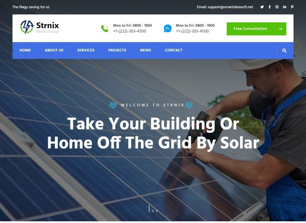 Strnix Solar and Green Energy WordPress Theme