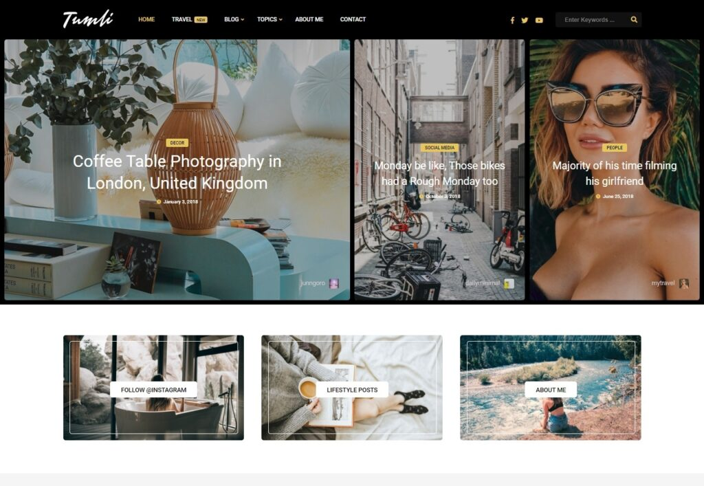 Tumli Elegant and Ornate Personal Blog WordPress Theme