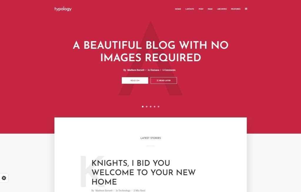 Typology WordPress Text Only Theme for Medium Style Blogs