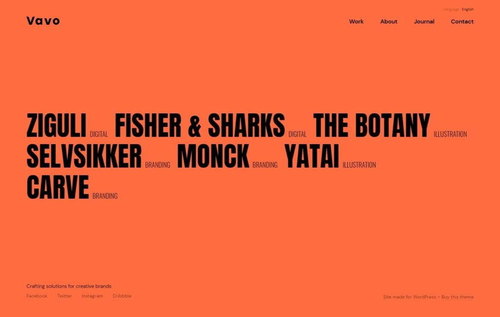 Vavo Bold Home Page With Cool Type Choices