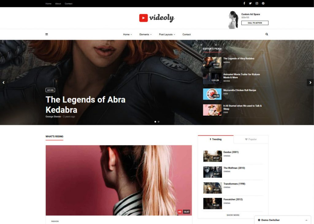 Videoly WordPress Theme for YouTube Style Websites