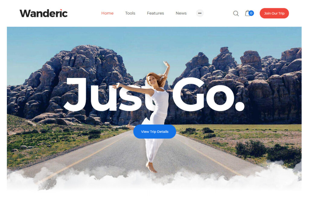 Wanderic Travel Blog Theme with Simple Clean Style