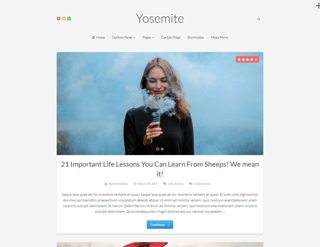 Yosemite Clean WordPress Blogging Theme
