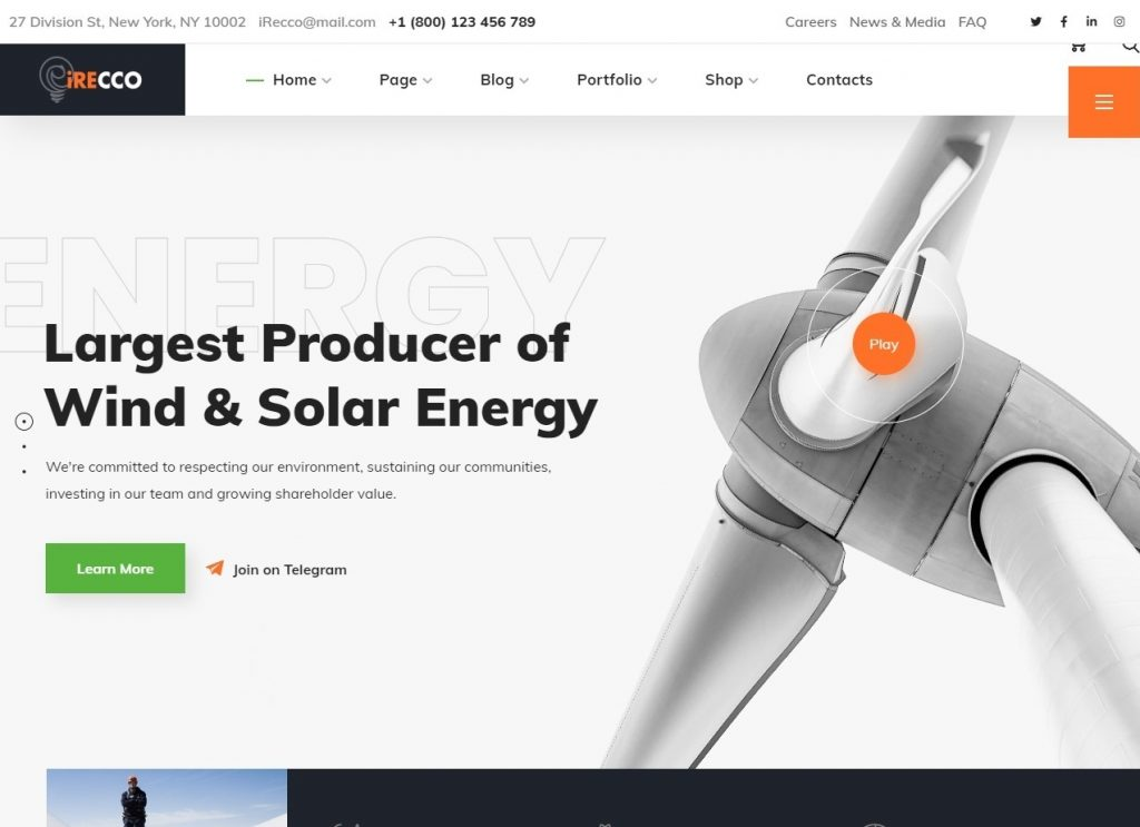 iRecco Wind Solar Energy WordPress Theme