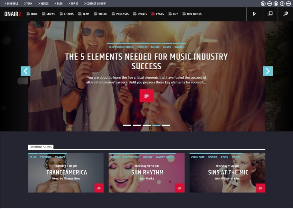 On Air 2 Radio Station WordPress Theme