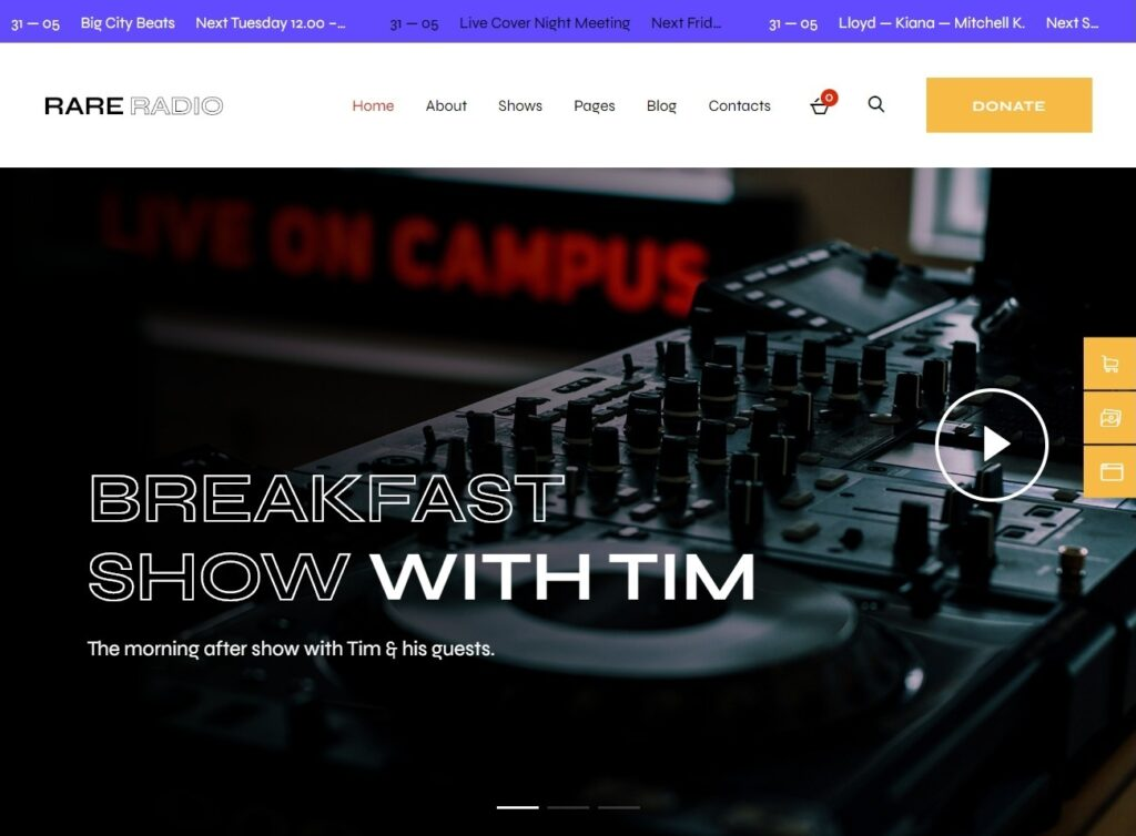 Rare Radio WordPress Theme for Radio Stations