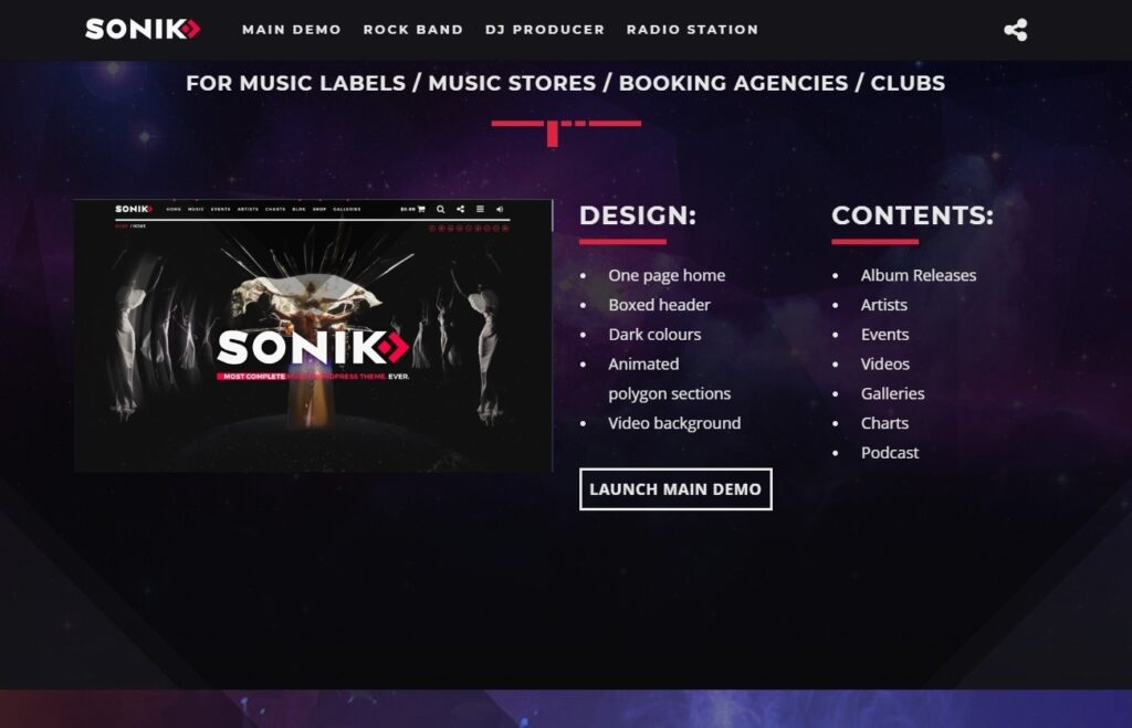 Sonic WordPress Theme for Radio Stations