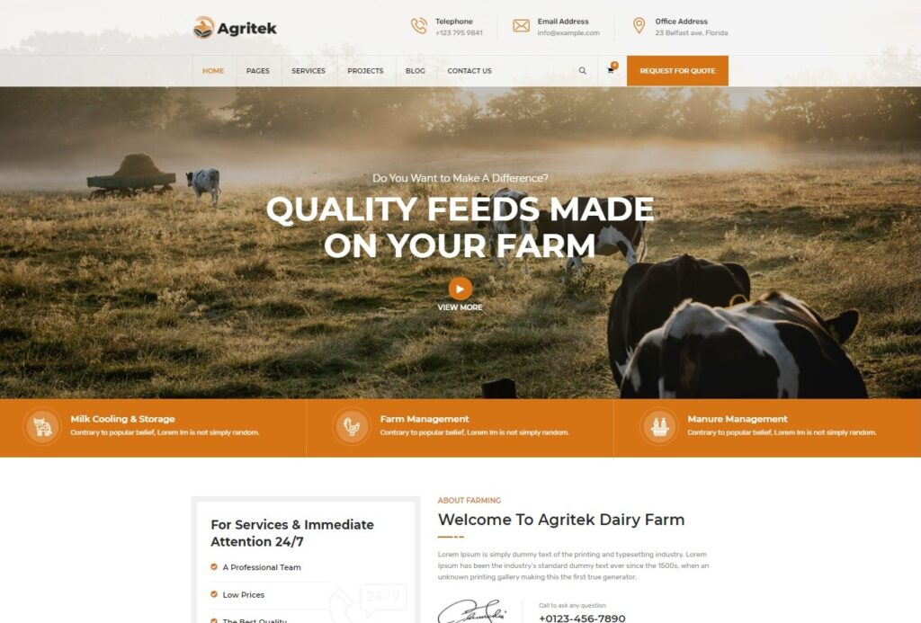 Agritek Agriculture Dairyfarm and Gardening WordPress Theme Preview ThemeForest