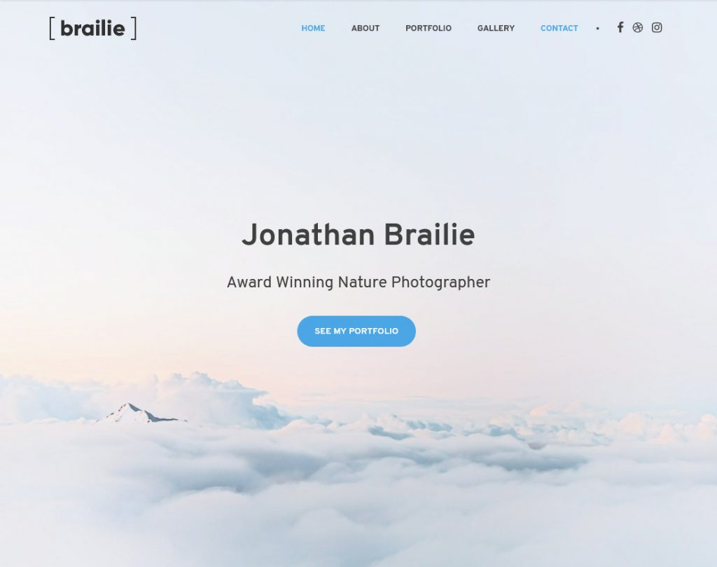 Braile Full Screen OnePage WordPress Theme
