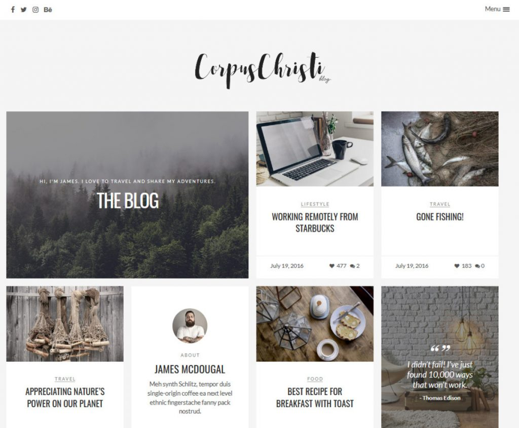 CorpusChristi Modern Blog WordPress Theme