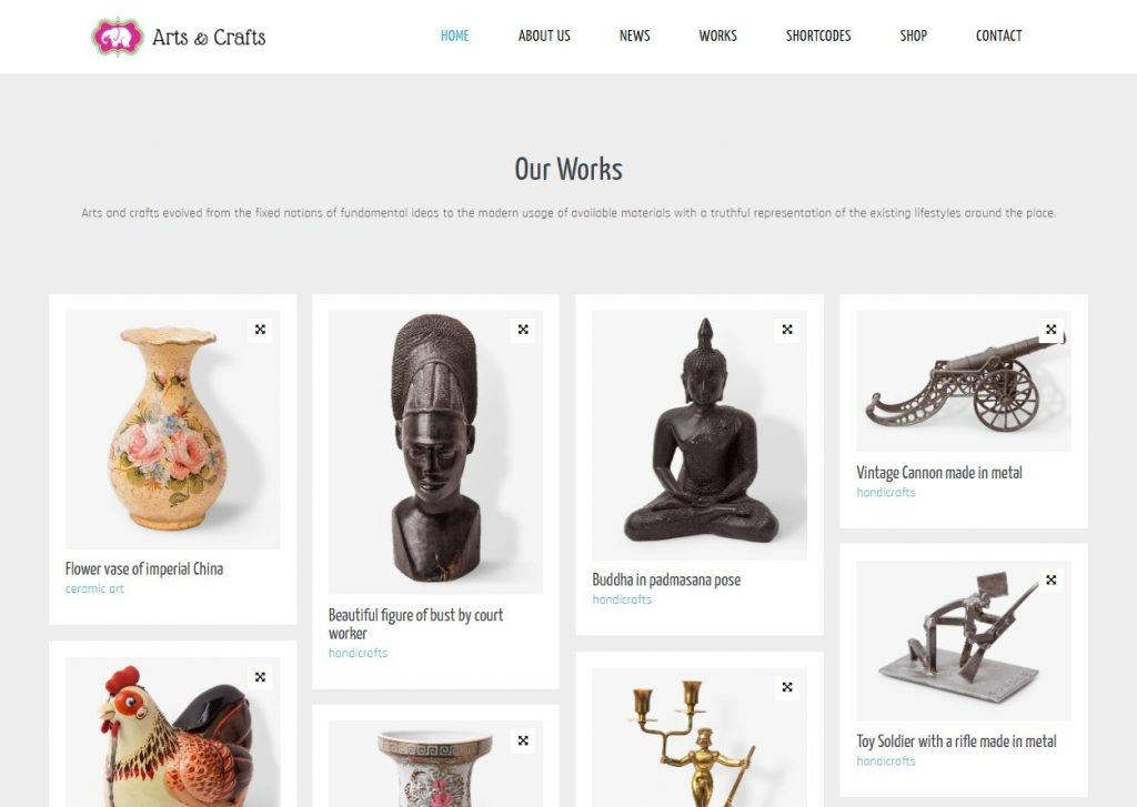 Crafts And Arts WordPress Theme for Selling handcrafted Items