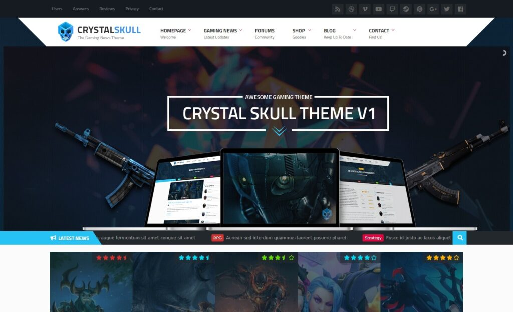 CrystalSkull – Gaming Magazine WordPress Theme