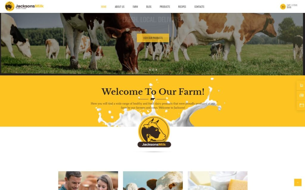 Dairy Farm Eco Milk Products WordPress Theme Preview