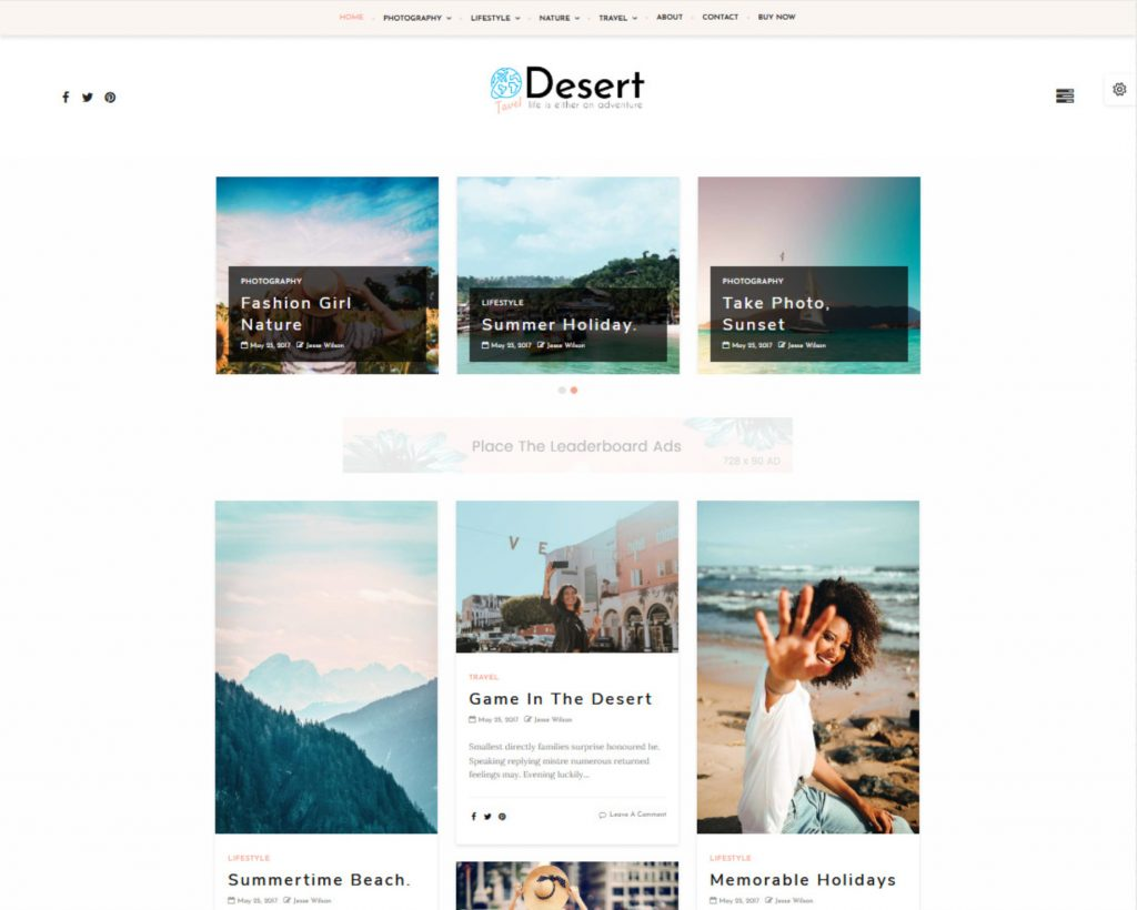 Desert WordPress Theme with Pinterest Inspired Grid