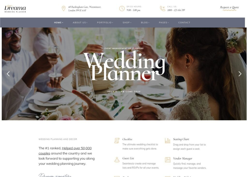 Dreama, WordPress Wedding Theme
