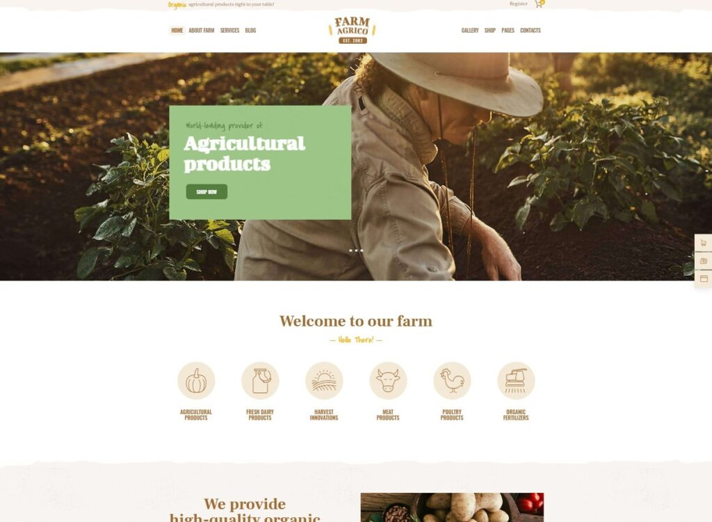 Farm Agrico _ Agricultural Business Organic Food WordPress Theme Preview ThemeForest