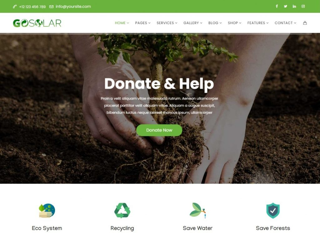 GoSolar Eco Environmental Nature WordPress Theme